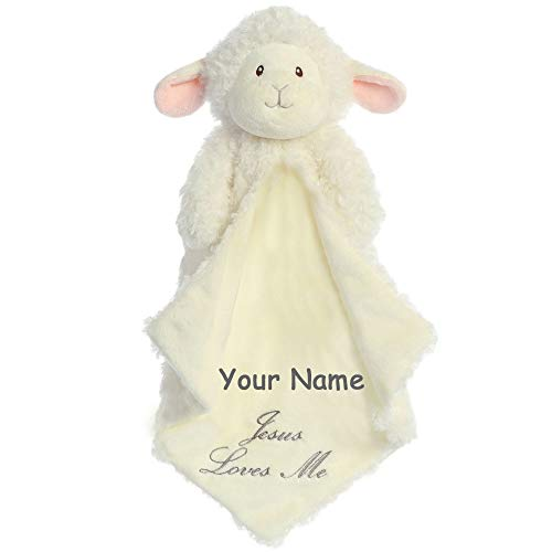 Personalized Aurora Baby Blessings Lamb Luvster Plush Blanket with Jesus Loves Me for Baby Boy or Baby Girl - 16 - Lamb Personalized Baby