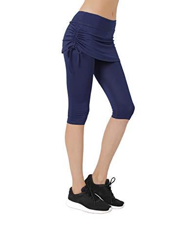 Women's Running Cropped Capri Pants Swim Skirted Sport Leggings Sun Protection l ny Navy -