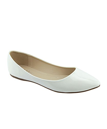 Bella Marie Womens Klassische Spitzen Zehen Ballett Slip On Flats-Shoes Weißes Patent