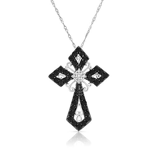 NATALIA DRAKE 10kt White Gold Black & White Sapphire Cross Pendant-1cttw ()