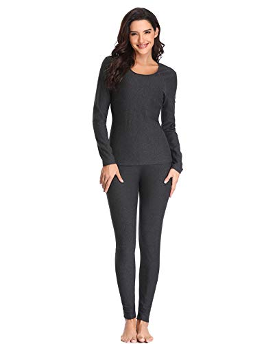 Lusofie Cotton Thermal Underwear Set for Women Long Johns Base Layer Thermals (Dark Grey, - Layer First Womens Top