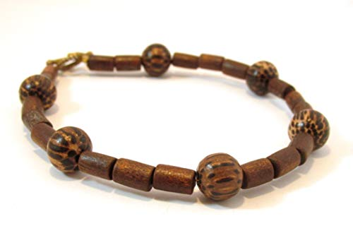 Natural wood bead strand bracelet - 8 - Natural Strand 8in