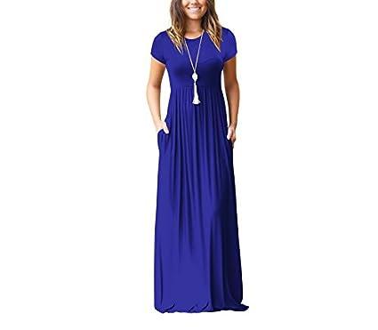 Gudelaa Vestido Largo de Manga Larga con Bolsillos Azules Mujer M