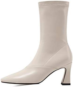 NA Gel Nail Bottines Femmes, Bottes en Cuir Verni Dames, Talons Hauts Pointus Chaussures Femmes,Blanc,40