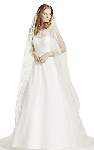 Top-Sexy White 1 Tier 5M Cathedral FINAL SALE Wedding Veil with Chantilly Lace Edge Design (Chantilly Lace Veils)