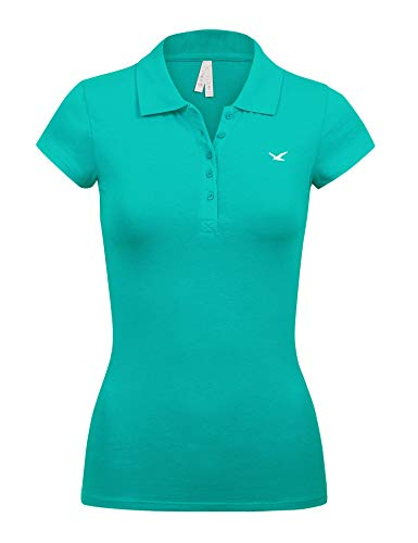 Women's Short Sleeve Peacock Color 5 Buttons Slim Fit Polo Shirts(3000-PEACOCK-M)