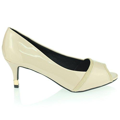 Beige Peeptoe Chaussures Travail Mi Taille Dames Bureau Sandales Formel De Soir Femmes Talons À Chaton Féminin BwHqg04