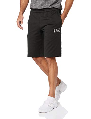 Emporio Armani EA7 Cotton Printed Logo Stripped Black Shorts L Black