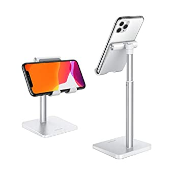 Cell Phone Stand, OMOTON Adjustable Angle Height Desk Phone Dock Holder for iPhone SE 2/11 / 11 Pro/XS Max/XR, Samsung…