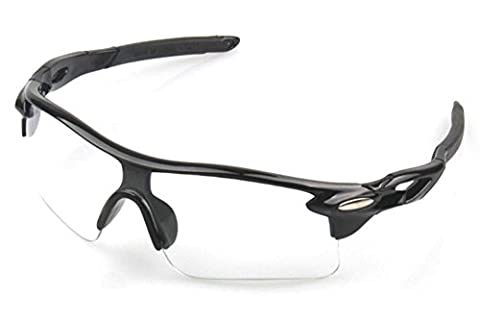 Wonzone Fashion Unisex Shatterproof Windproof Dust-proof UV Protection Night-Vision Sunglasses for Cycling Running Sports Biking Fishing Outdoors (Black Frame Transparent (Scratch Golf Game Gear)