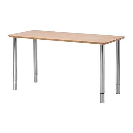 IKEA Hilver - Mesa, bambú, cromado - 140x65 cm: Amazon.es: Hogar