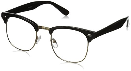 zeroUV Vintage Inspired Classic Horn Rimmed Nerd Horn Rimmed UV400 Clear Lens Glasses (Clear | Black-Gold) 49 - Horn Glasses Rimmed Fake