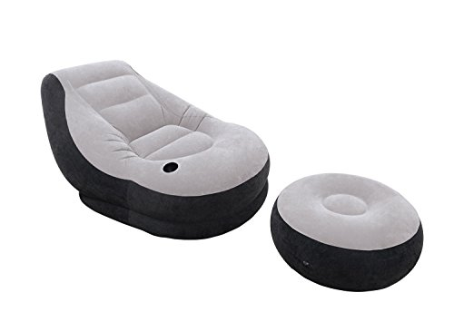 Inflatable Ultra Lounge Chair With Cup Holder And Ottoman Set
