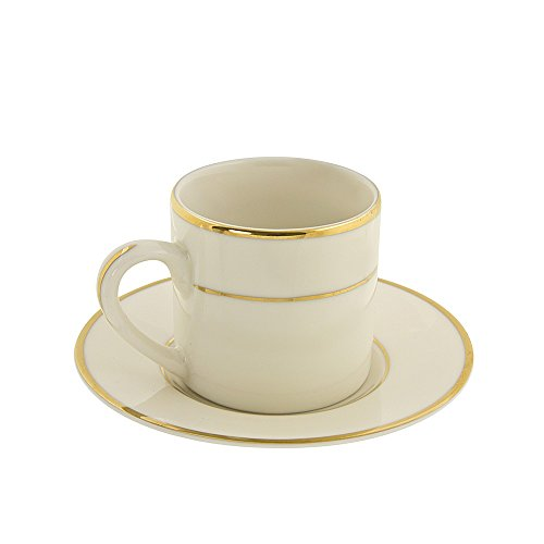 10 Strawberry Street Cream Double Gold Line 4 Oz Demi/Espresso Can Cup and Saucer, Set of 6, Cream/Gold