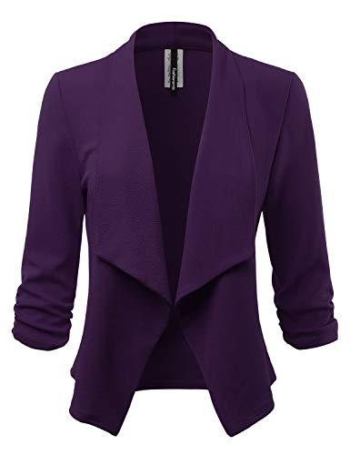 Women's Stretch 3/4 Gathered Sleeve Open Blazer Jacket (Made in USA) (CLBC001) Purple 1X