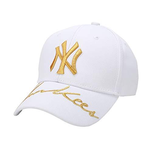 Unisex MLB Yankees Baseball Cap - Adjustable New York Fashion Hip Hop Hat with Embroidery White