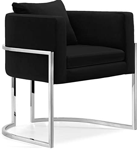 Meridian Furniture Pippa Collection Modern Contemporary Velvet Upholstered Accent Chair with Chrome Stainless Steel Base, Black, 30 W x 30 D x 29 H