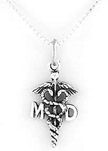 Sterling Silver MD Caduceus Charm with 18 INCH Box Chain Necklace Charms,Pendant and Bracelet by Easy to be happy ()