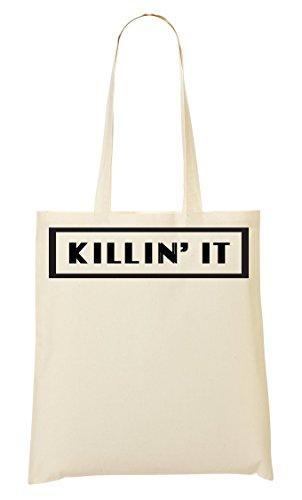 Killin' It Dope Funny Gangster Black Framed Slogan Bolso De Mano Bolsa De La Compra