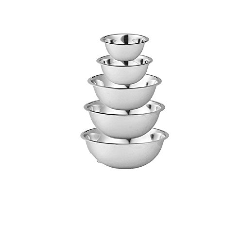 Culinary Depot Stainless Steel Nesting Prep Bowl, Polished Mirror Finish, Set of 5 (¾, 1 ½, 3, 4, and 5 Quart)