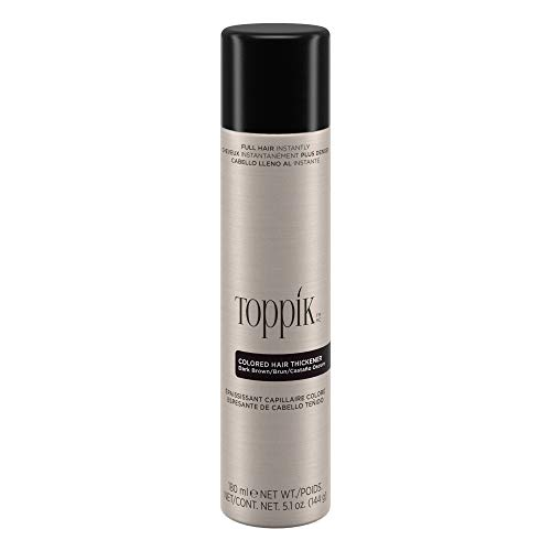 Toppik Colored Hair Thickener, Dark Brown, 5.1 OZ (Best Hairspray For Colored Hair)