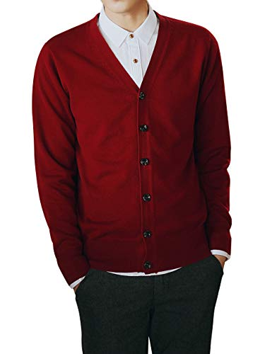 (TOPTIE Men's Casual Fit V-Neck Cotton Sweater Cardigan-Red-XL)