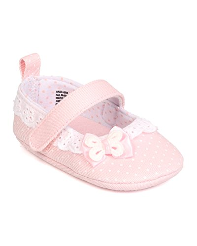 Infant Girls Canvas Polka Dot Mary Jane Hook and Loop Ballet Flat FI67 - Pink (Size: Infant 2) ()