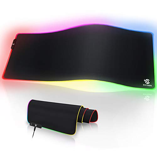 Oxygen RGB Gaming Mouse Pad, Ultra Bright LED Light&Soft Large Extended Mousepad with 10 Lighting Modes, Water Resistance, Non-Slip Rubber Base Keyboard Pad Mat, 31.5 X12 inch X 5mm (Best Mousepad For Gaming 2019)