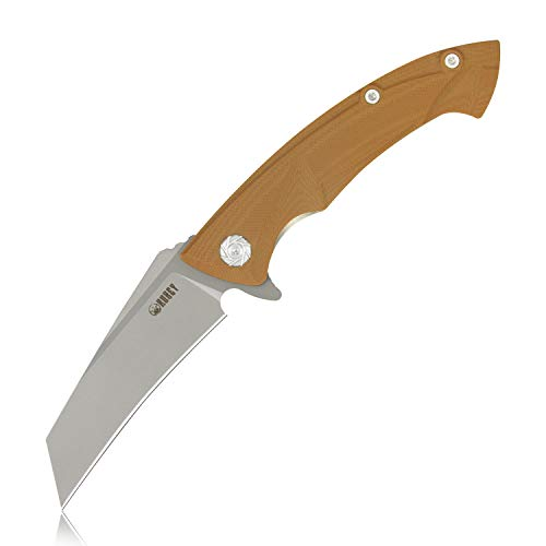 KUBEY KU212 Folding Knife with Pocket Clip, G10 Handle and D2 Tanto Point Blade, Liner Lock Mechanism and Ball Bearing System, for Hiking EDC and Hand Tool (Tan Plus)