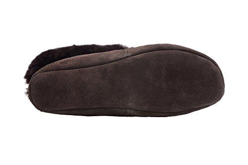 Herren Damen Lammfell Hausschuhe echtleder Gefuttert Wolle Pantoffeln Schlappen Schuhe Braun