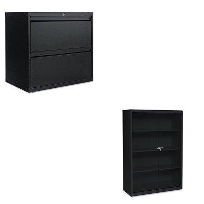 KITALELF3029BLTNN342GLBK - Value Kit - Tennsco Executive Steel Bookcase W/ Glass Doors (TNN342GLBK) and Best Two-Drawer Lateral File Cabinet (ALELF3029BL) - Executive 2 Door Cabinet