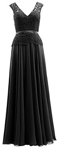 Bride Gown Mother Black Of Chiffon V Women Dress Neck Evening The Macloth Lace Formal xHqPB0nHwS