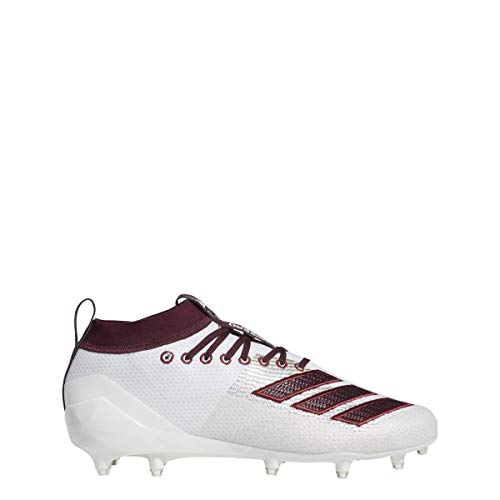 adidas Men's Adizero 8.0 Football Shoe, White/Maroon/Collegiate Burgundy, 6.5 M US