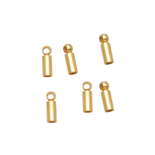 (Beadaholique 22K Gold Plated Barrel Cord Ends with Rings 6.5mm Long - Fits 1.2mm Cord)