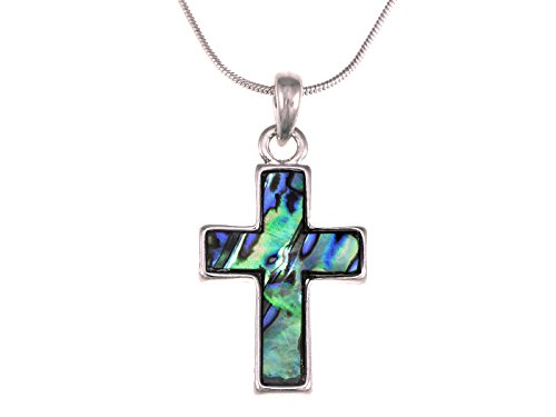 Alilang Womens Silver Tone Abalone Shell Holy Cross Pendant Necklace