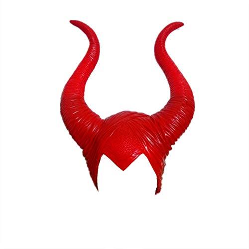 BICG 1x Maleficent Headpiece Costume Halloween Hat Maleficent Red Queen Horns (Red) -