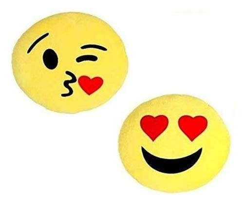 PRASJAL Microfibre Smiley Cushions Pillows kiss, Heart Eye Emoji Pack of 2  32 x 32 cm