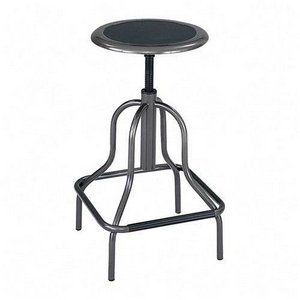 Safco® Diesel Backless Industrial Stool, High Base, Black Leather Seat