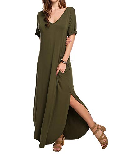 (Womens Summer Casual Split Long Slit Dress Cover Up Puffy Short Sleeve Slit Maxi Dresses with Pockets Army Green Small)