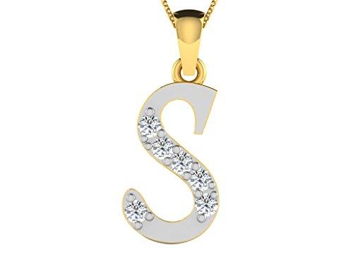 """Libertini Pendentif argent 925 plaque or Jaune serti de Diamant en forme de """"S"""" Alphabet"""