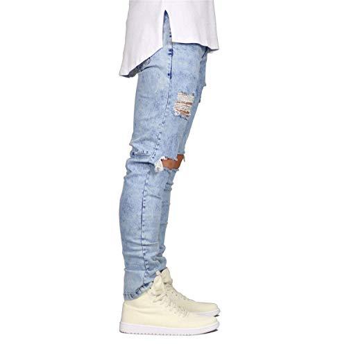 Jeans Con Eleganti Buco Lanceyy Distressed Strappati Nero Semplice Uomo Da Skinny Casual Stile Strappato g0aYYxdw