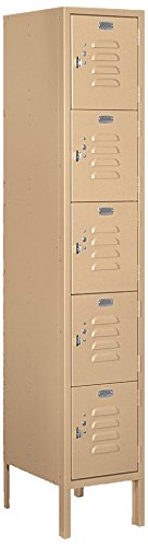 Salsbury Industries 65155TN-U Five Tier Box Style 12-Inch Wide 5-Feet High 15-Inch Deep Unassembled Standard Metal Locker, Tan Brown (15 Inch Wide Lockers)