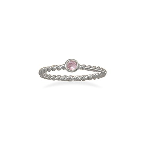 Stackable October Ring Rhodium