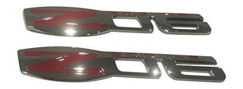 C6 Zo6 Corvette (Muzzys (Set of TWO) Z06 505 HP Chrome Red Emblem C6 ZO6 Corvette Fender 3M Stick On Decal)