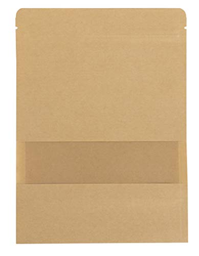 Kraft Zip Lock Stand-up Bag - 50-Pack Resealable Paper Pouch 3.6-Ounce Capacity with Transparent Matte Window and Tear Notch, Reusable Sealing Bag, 5.5 x 7.8 Inches