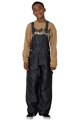 - Vibes Boy's Black Shiny Denim Carpenter Overalls Size M