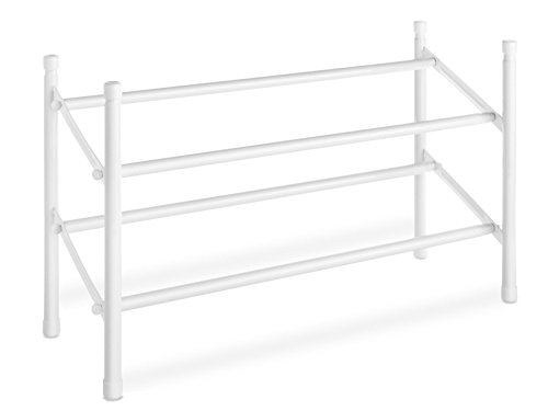Whitmor Expandable and Stackable Shoe Rack, White, 2 Tier, - Expandable Shoe Rack Stackable