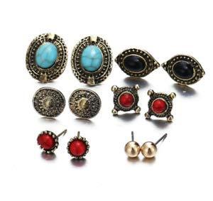 6 Pair/Set Vintage Earring Gold Color Punk Earring Set Women Party Fashion