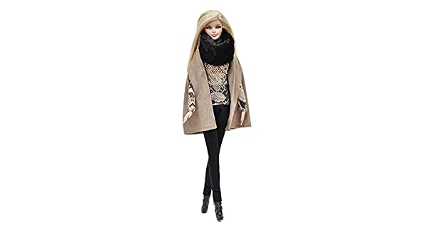 black hat full outfit#6 for Barbie doll white fur coat ELENPRIV FA black jeans