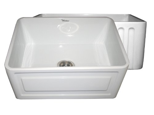 Whitehaus Sink Undermount Fireclay - Whitehaus WHFLCON2418 24-Inch Reversible Series Fireclay Sink with Concave Front Apron One Side and Fluted Front Apron on Other Side, White